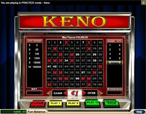 Keno at Jackmillion Online Casino